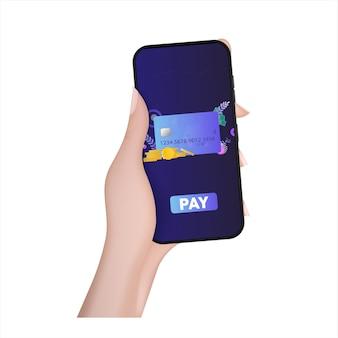 手は、支払いアプリケーションを備えた電話を持っています。支払いボタン。クレジットカード、金貨、ドル。オンラインショッピングと支払いの概念。ベクター。