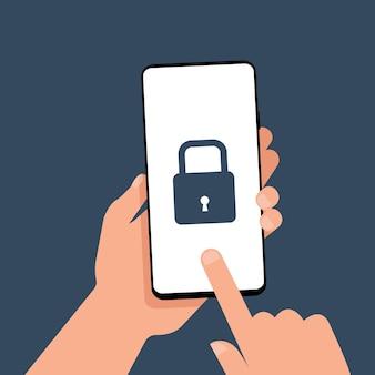 한 손이 화면에 잠금 아이콘이 있는 스마트폰을 들고 있습니다. 데이터 보호