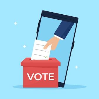 手が投票箱に投票用紙を置きます。オンライン選挙、投票の概念。フラットなデザイン