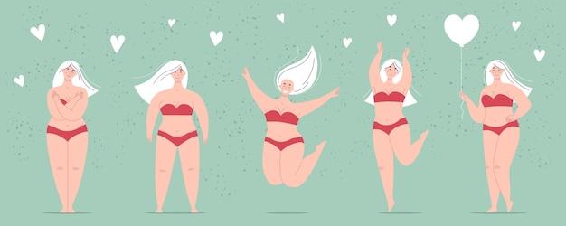 하트 모양의 풍선을 들고 수영복에 행복한 아름다운 통통 여성