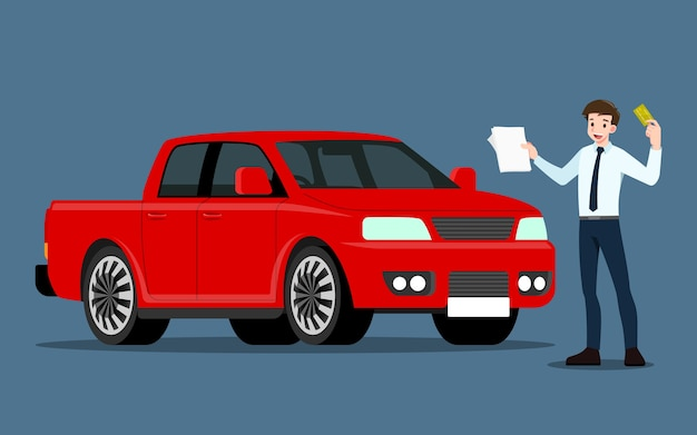 행복한 사업가, 세일즈맨이 서서 판매 또는 임대를 위해 차량을 제시합니다.