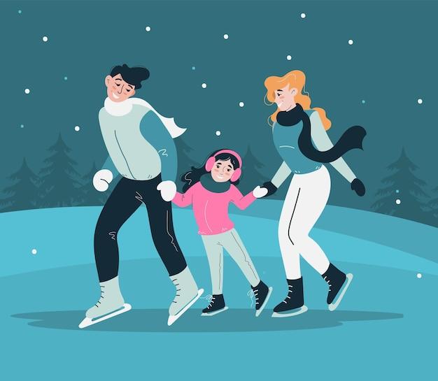 아이와 함께 행복한 커플이 스케이트를 타고 있습니다. 빙상장에서 온 가족이 함께하는 활동적인 레크레이션. 개념