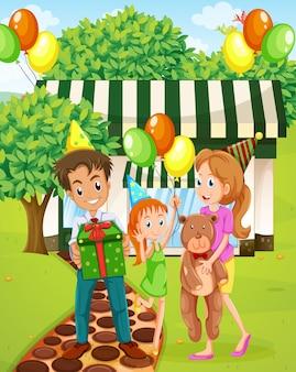 집 밖에서 축하하는 행복한 가족