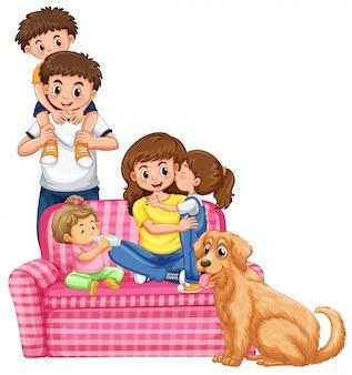 흰색 배경에 행복한 가족