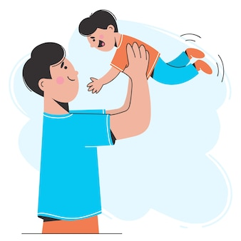 幸せな父親が息子と遊んで、空中に投げます。フレンドリーな家族の概念。フラットスタイルのイラスト。
