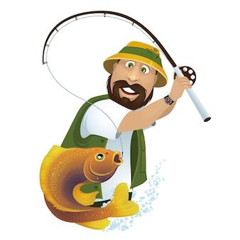 Счастливый рыбак ловит рыбу в озере.