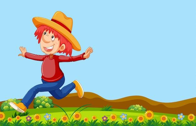 自然の中で走っている幸せな人