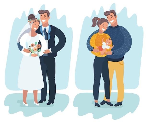 生まれたばかりの赤ちゃん、イラストと幸せな結婚されていたカップル