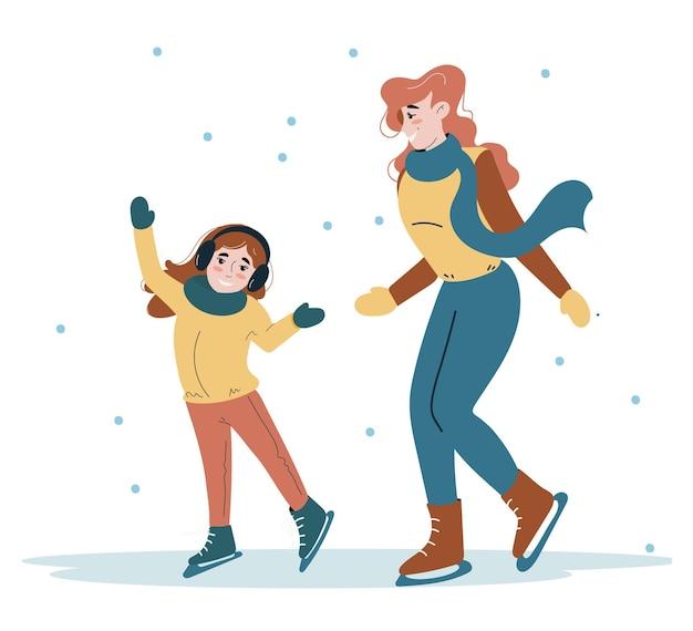 행복한 엄마와 그녀의 아이가 겨울에 스케이트를 타고 있습니다. 동계 스포츠. 플랫 스타일의 캐릭터.