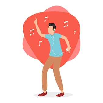 Счастливый подросток, слушающий джазовую музыку, по вечерам в наушниках