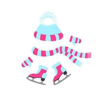 ふわふわのポンポン、スカーフ、ミトンが付いた帽子。毛皮付きスケート。ウィンタースポーツの日。ニットビーニー。アウトドアアクティビティのための冬の服装