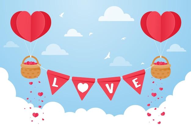 Воздушный шар в форме сердца, плывущий в небе с корзиной, наполненной красными сердечками