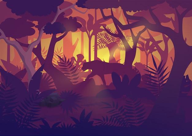 タイガージャガーと高品質の水平熱帯雨林ジャングルの背景。