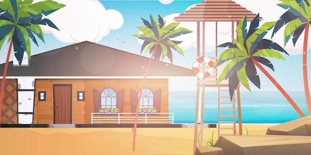 青く清潔で穏やかな海に浮かぶホテル。ヤシの木のある砂浜のヴィラ。