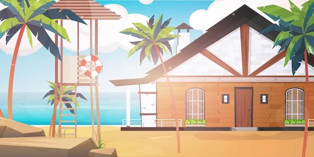 青く清潔で穏やかな海に浮かぶホテル。