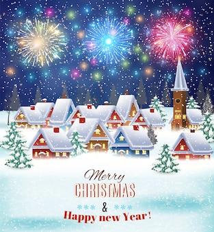 Дом в снежном рождественском пейзаже ночью. фейерверк в небе. концепция для поздравительной или почтовой карты