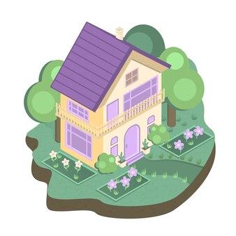 Дом в саду. изометрические иллюстрации