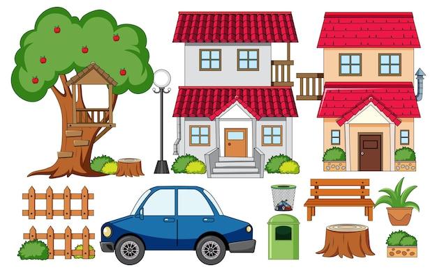 孤立した屋外装飾セットの家