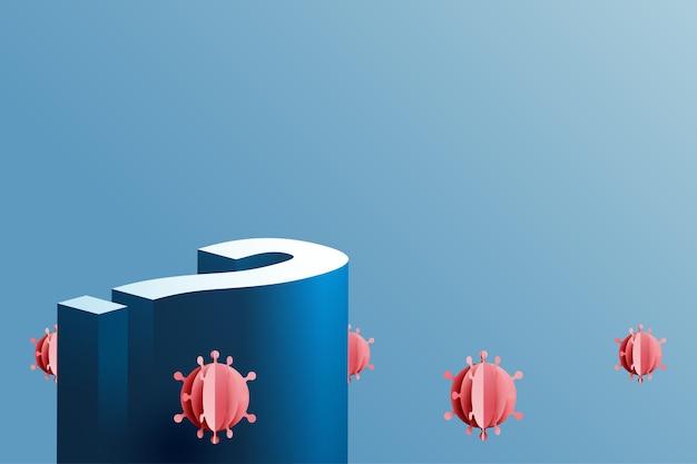 비즈니스 결정 개념이 있는 거대한 물음표. 코로나바이러스 covid-19의 비즈니스 및 금융 위기입니다.종이 예술 벡터 삽화