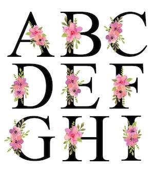 A - i 알파벳 문자 디자인 수채화 핑크 퍼플 꽃 꽃다발