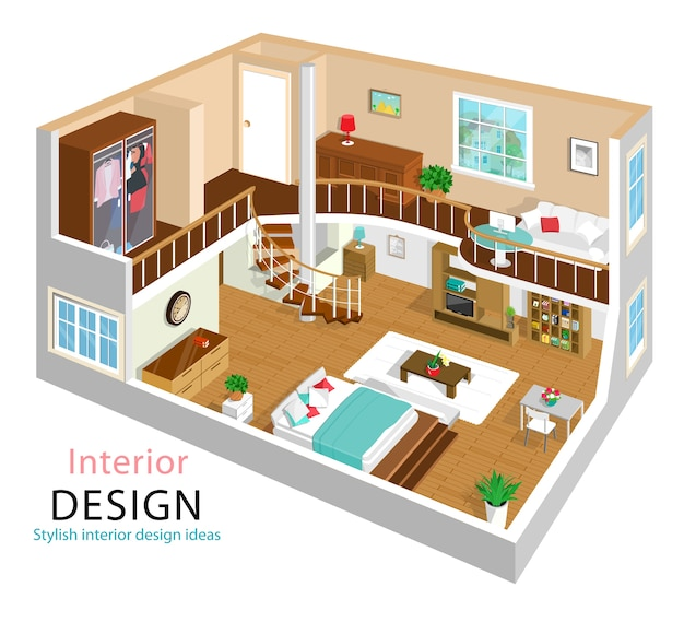 Иллюстрация современного детального изометрического интерьера квартиры. изометрические интерьеры комнат. двухэтажный дом с подъездом.