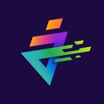 シンプルなスパークとカラフルな文字aまたはjのロゴ