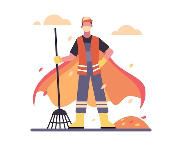 청소부는 코로나 바이러스 전염병 일러스트레이션에서 슈퍼 영웅으로 빗자루를 들고 빨간 망토와 얼굴 마스크를 착용합니다.