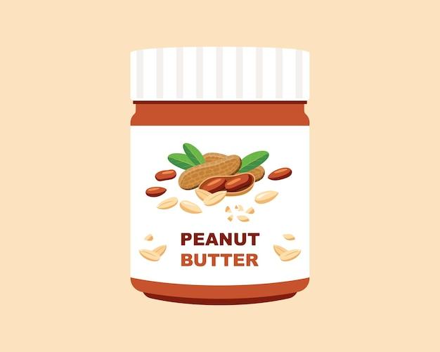 Банка арахисового масла. плоские векторные иллюстрации.