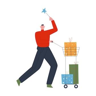 陽気な男がショッピングカートに3つの大きな贈り物を運んでいます製品の配達フラットベクトル