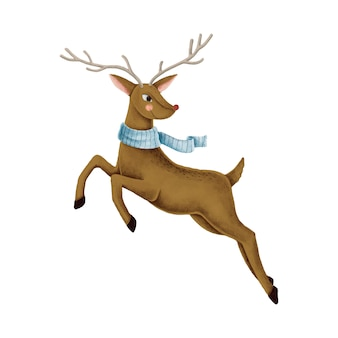 A jumping red nose reindeer illustration