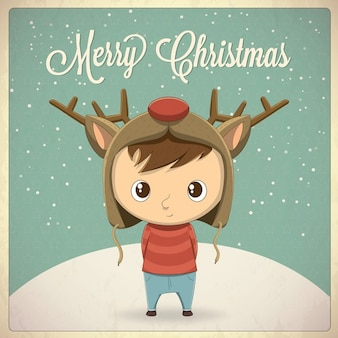 Рождественский дизайн карты мальчик с шляпу символ иллюстрации вектор фон