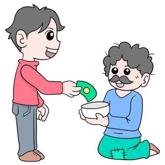 친절하고 잘생긴 청년이 거지에게 자선금을 주는 벡터 일러스트레이션 예술입니다. 낙서 아이콘 이미지 귀엽다.