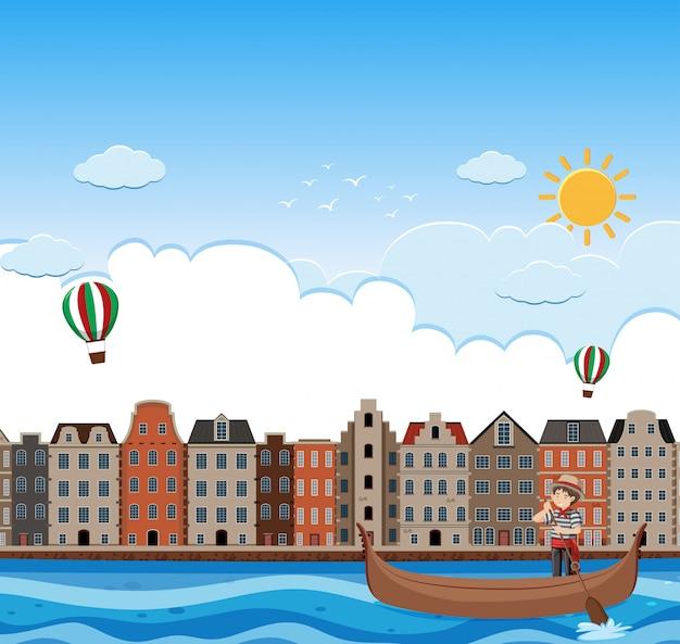 Пейзаж венеции и гондолы