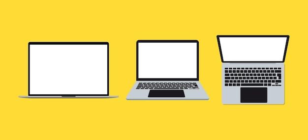 ノートパソコンの画面表示。さまざまな位置にあるラップトップ。開いて、プロファイルと上面図。現代のコンピューターモックアップの概念。空白の画面とラップトップのセット