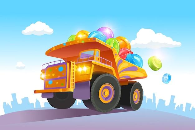 크고 밝은 트럭에는 다채로운 사탕이 많이 실려 있습니다. 롤리팝 배달. 삽화
