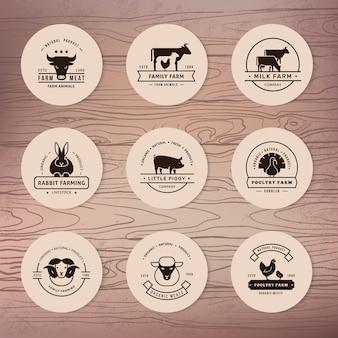 農家、食料品店、その他の業界向けのベクターロゴの大規模なコレクション。