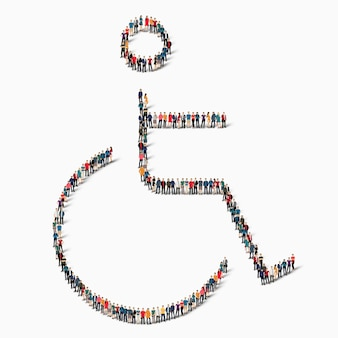 障害者、無効、薬、アイコンの形をした人々の大規模なグループ。