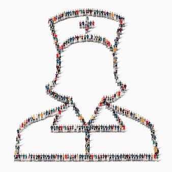 Большая группа людей в форме медсестры, медицины, иконы.
