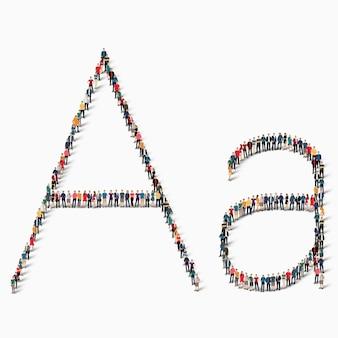文字a、アルファベット、アイコンのサインの形をした大勢の人々。