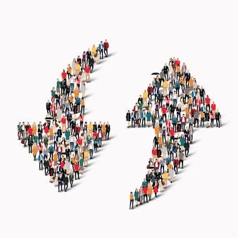 矢印の形をした大人数のグループ。図