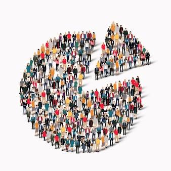 Большая группа людей в форме круговой диаграммы