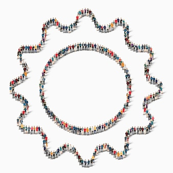 Большая группа людей в форме шестеренок, значок.