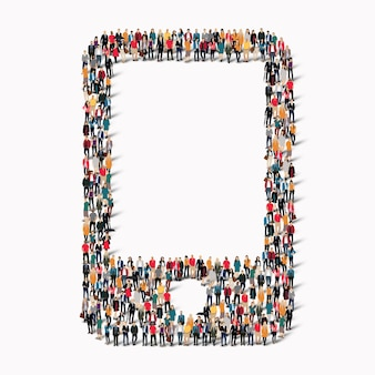 Большая группа людей в форме телефона. иллюстрация