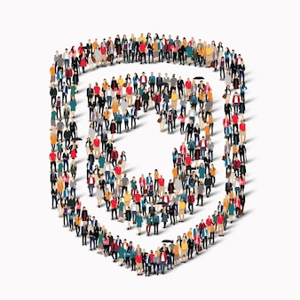 Большая группа людей в форме щита защиты