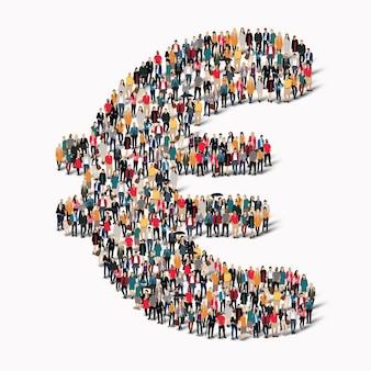 Большая группа людей в форме знака евро. .