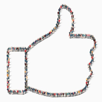 Большая группа людей в форме знака как успех, значок.