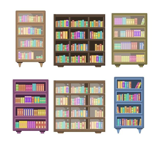Большая библиотека имеет деревянный книжный шкаф, полный сложенных книг, стоящих на книжных полках. деревянные книжные полки изолированные на белой предпосылке. концепция образования книжного магазина библиотеки.