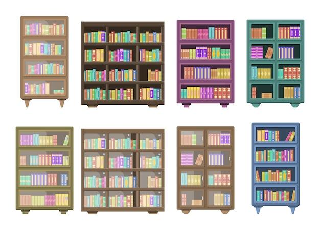 大きな図書館には、本棚の上に折りたたまれた本がいっぱいの木製本棚があります。白い背景で隔離の木製の本棚。教育ライブラリブックストアのコンセプト。