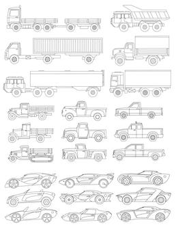 直線的なスタイルで描かれた車の大規模なセット。ベクトルイラスト。