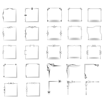 Большой набор рам различной формы Premium векторы